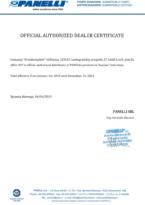 Сертификат авторизованного дистрибьютора Panelli