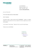 Сертификат эксклюзивного дистрибьютора Polidoro